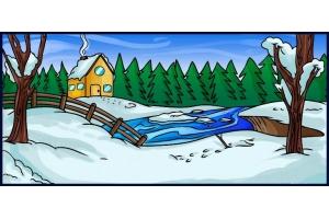 Пейзаж зимы рисунки 6
