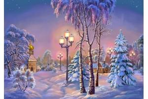 Пейзаж зимы рисунки 7