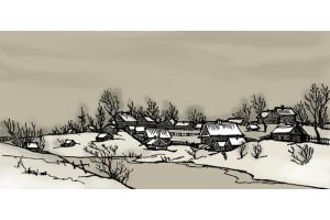 Пейзаж зимы рисунки 8
