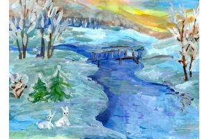 Нарисовать рисунок на тему зима 6