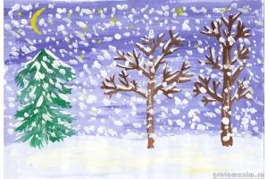 Нарисовать рисунок на тему зима 7