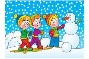 Раскраски зимние забавы детей 3