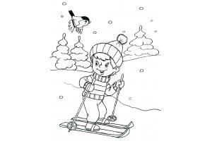 Раскраски зимние забавы детей 7