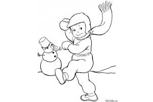 Раскраски зимние забавы детей 8