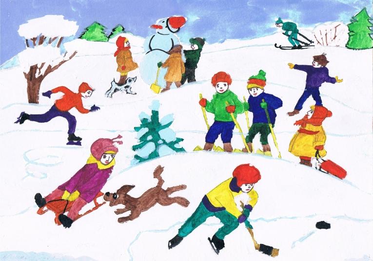 рисунок зимний вид спорта для сада последние