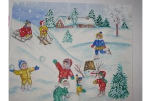 Рисунки зимние забавы детей 1