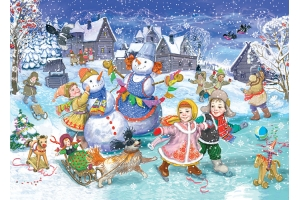 Рисунки зимние забавы детей 2