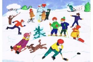 Рисунки зимние забавы детей 3