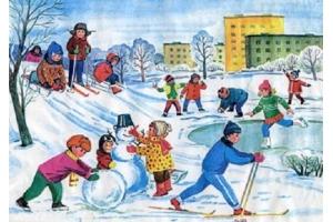 Рисунки зимние забавы детей 4