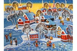 Рисунки зимние забавы детей 6