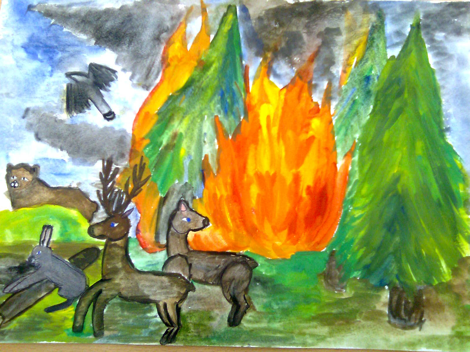 свой лесной пожар рисунок гуашью тех