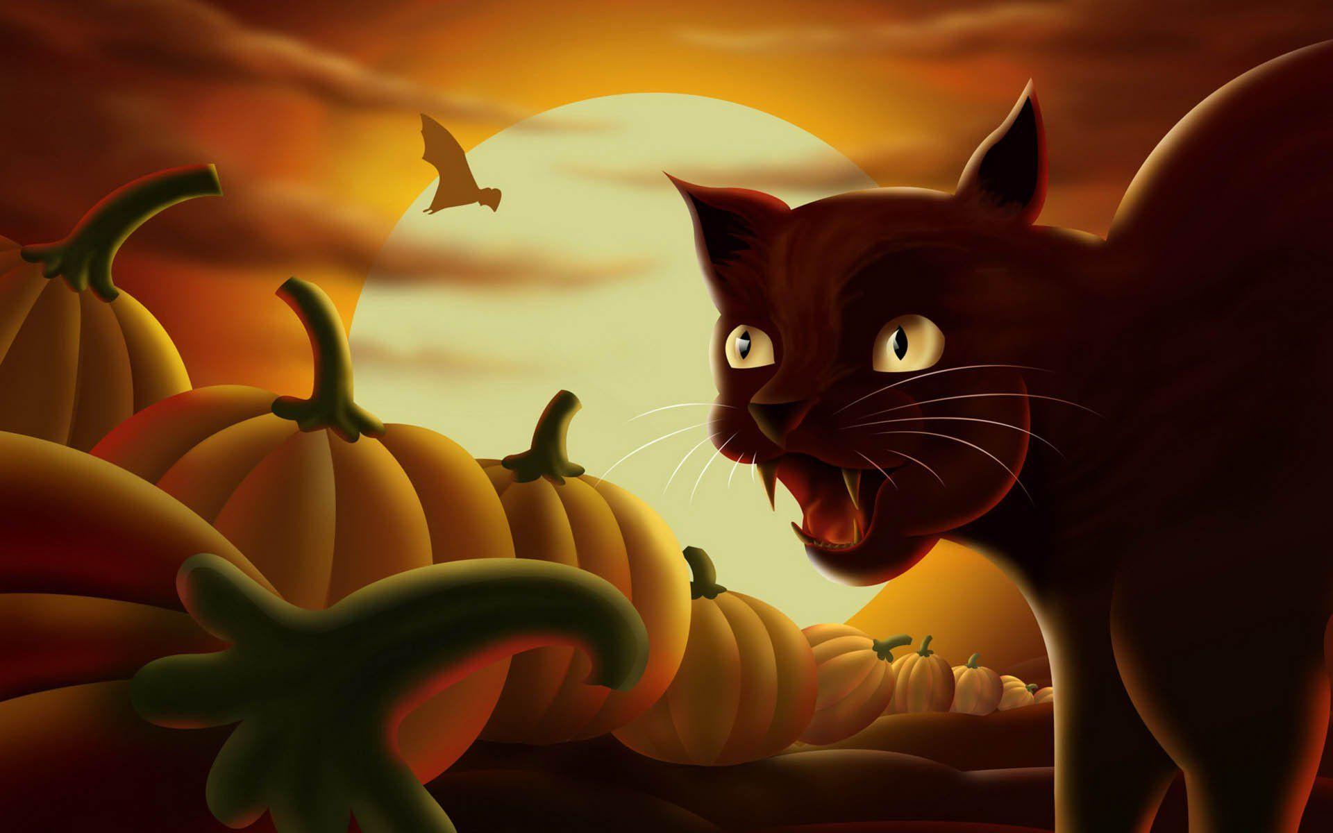 Free Desktop Wallpaper Clip art for Halloween Cat Lovers