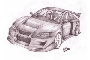 Рисунки автомобилей карандашом 2