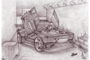 Рисунки автомобилей карандашом 6
