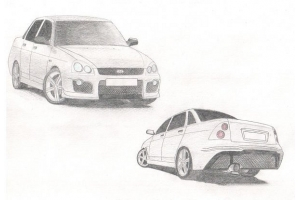 Рисунки автомобилей карандашом 7