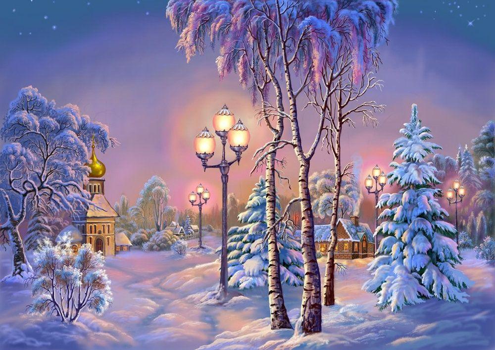 Зима красивая анимационные картинки