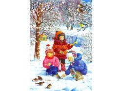 Картинки зима рисунки детей 7