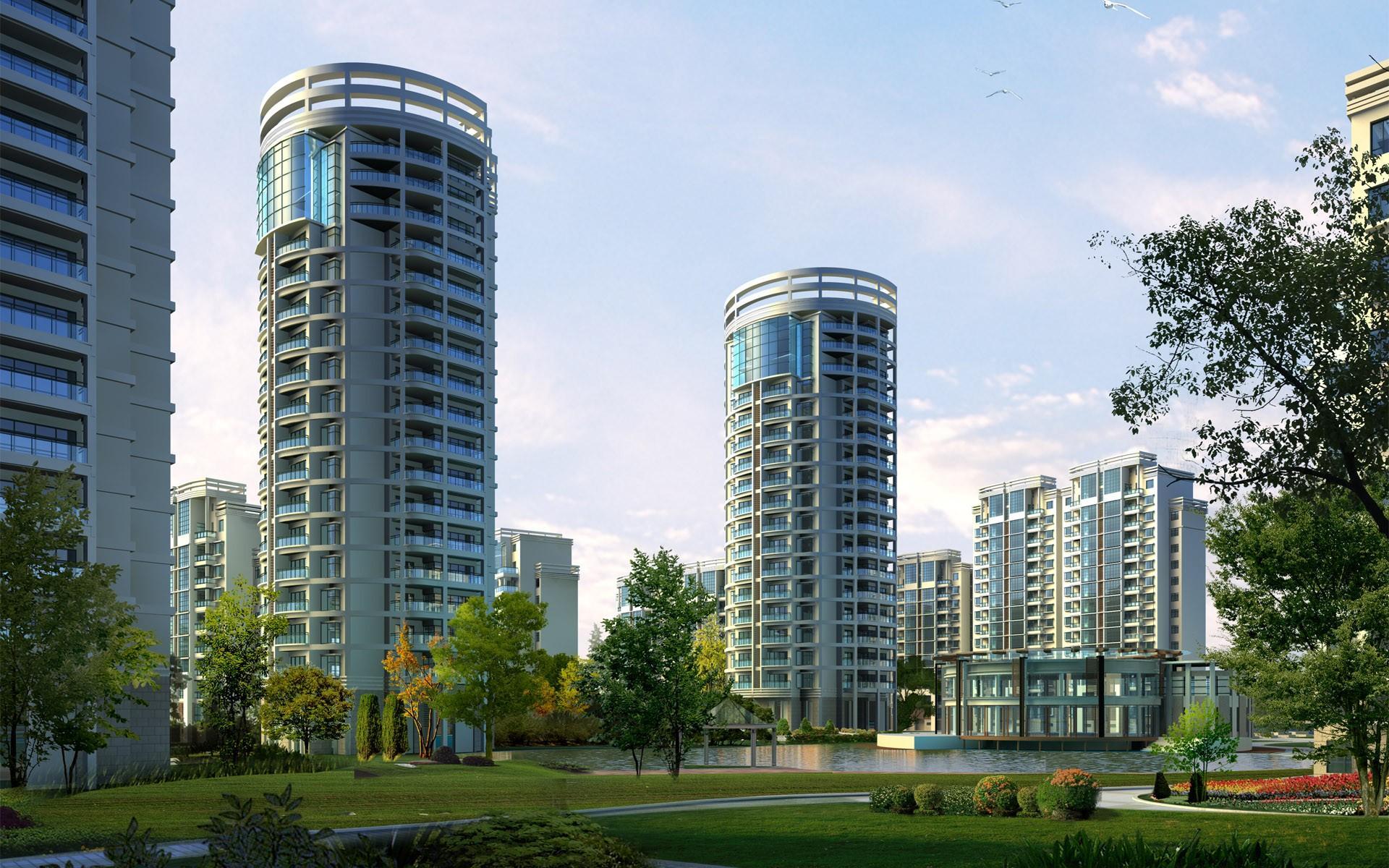 Картинка многоэтажных домов в городе