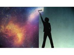 Баннер с фото космоса и планет на