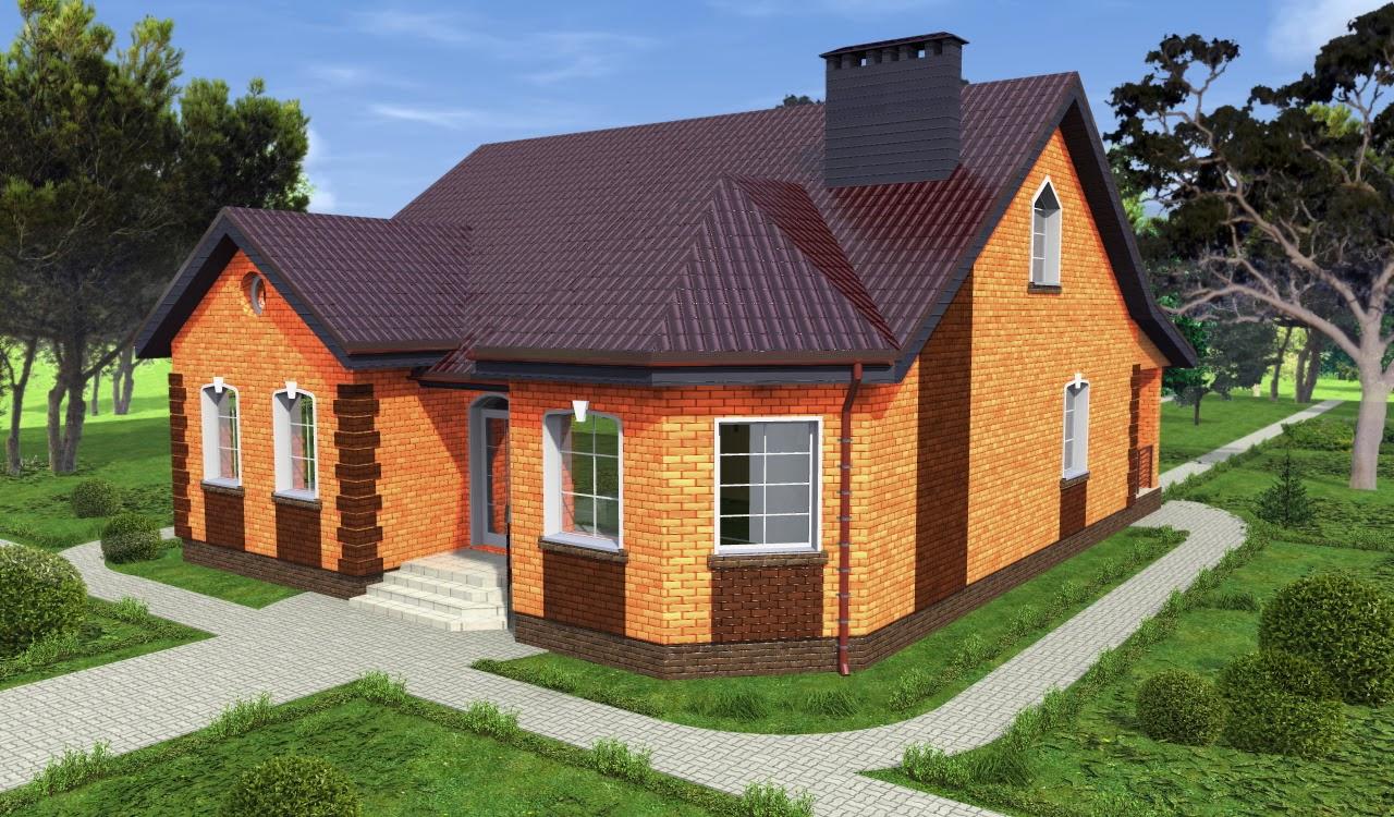 Одноэтажные дома из кирпича фотографии