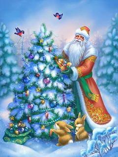 Картинка рождественская елка (christmas tree) 480x800 / новогодние.
