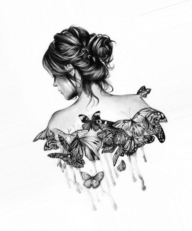 Картинка девушки со спины с бабочкой