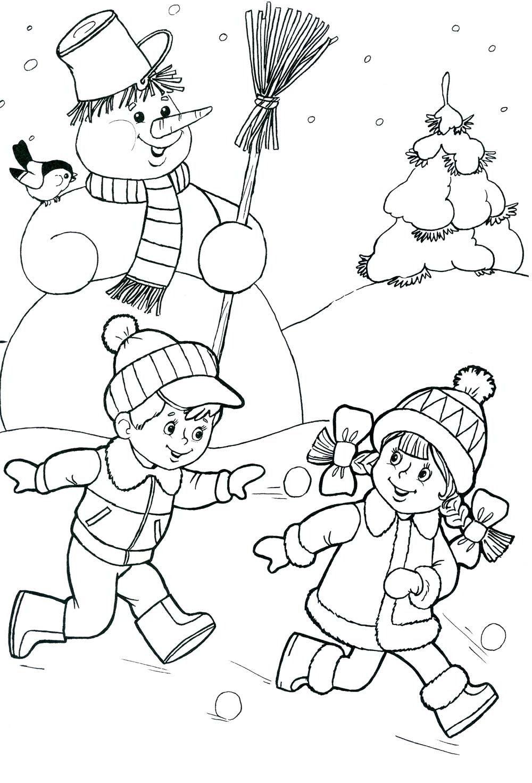 Зимние раскраски для детей » Скачать лучшие картинки ...