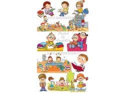 Дети читают книги картинки рисованные