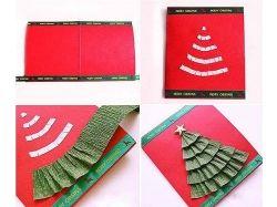Новогодние открытки из бумаги своими руками