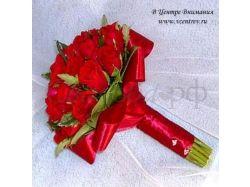 Красный свадебный букет фото