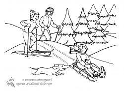 Раскраски зима для детей