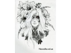 Рисунки черной ручкой 5