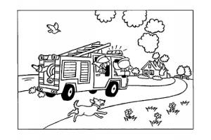 Раскраска пожарная машина распечатать