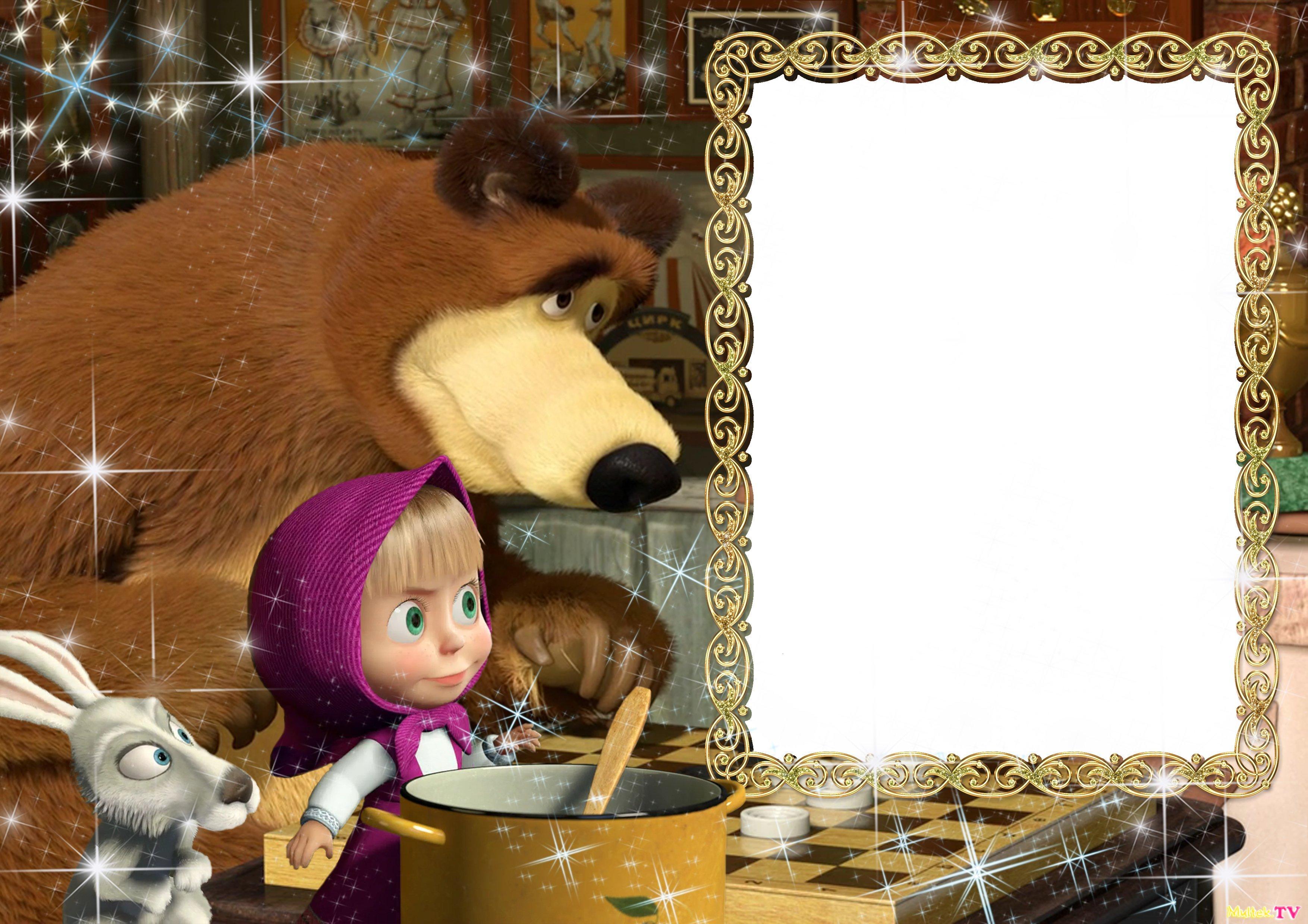 Открытка фон маша и медведь