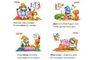 Части суток в картинках для детей