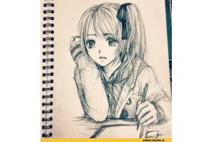 Аниме рисунки черно белые
