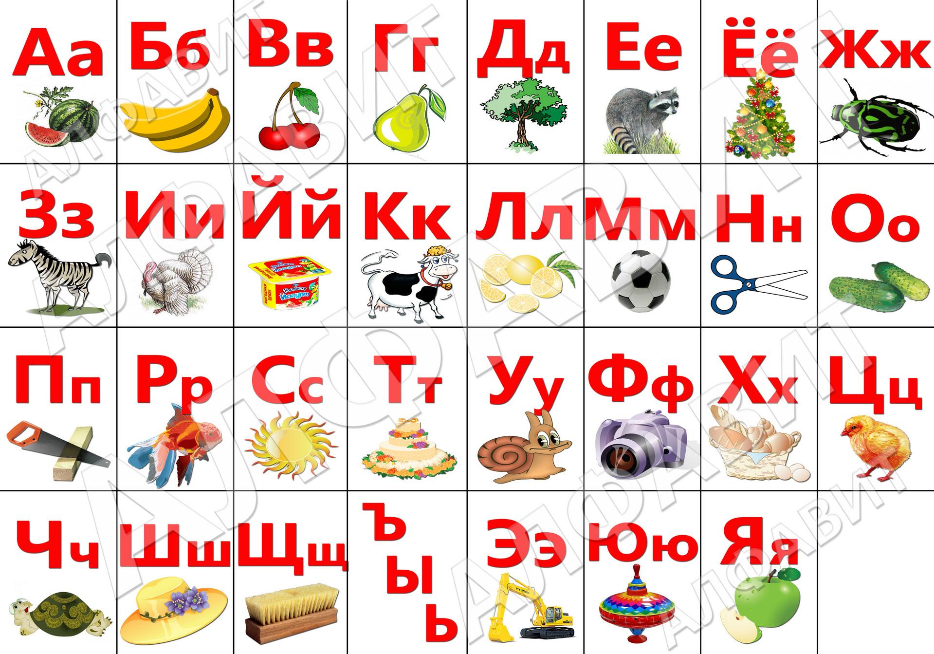 Русский алфавит для детей картинки распечатать