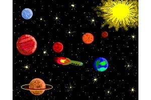Космос рисунок красками