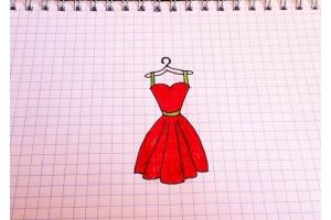 Картинки карандашом простые красивые платья