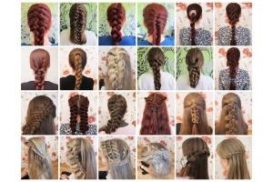Плетение волос с лентой фото