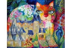 Рисунки кошек батик