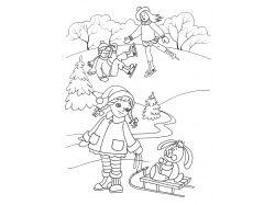 Зимние игры картинки для детей раскраски