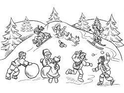 Зимние игры картинки для детей раскраски 3