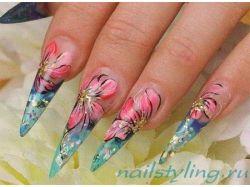Рисунки на ногтях акриловыми красками пошагово фото