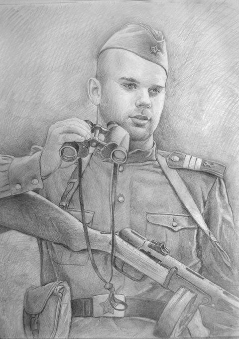 рисунки карандашом солдат вов власти омска указали