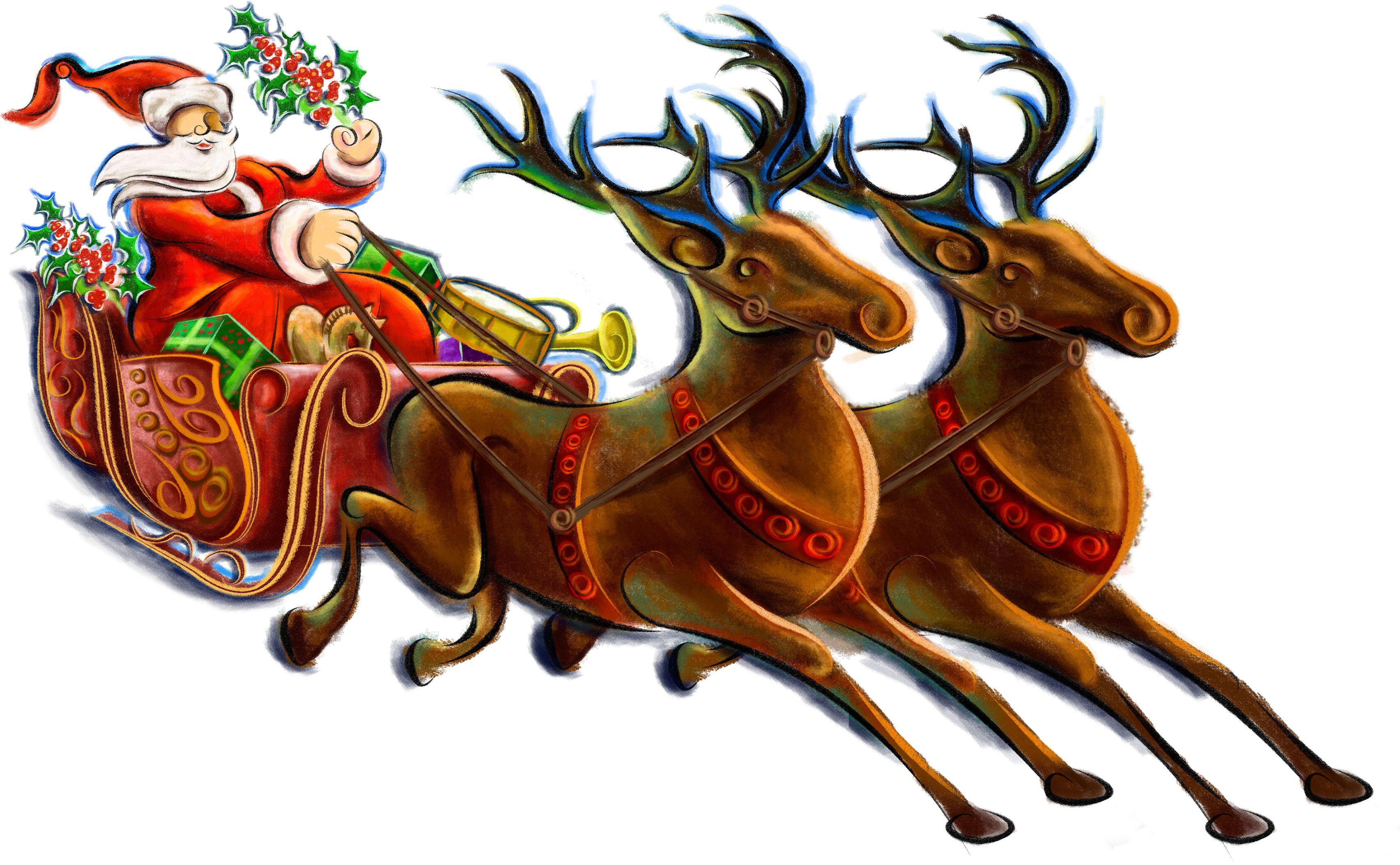 Картинки новогодние дед мороз на санях пнг, днем