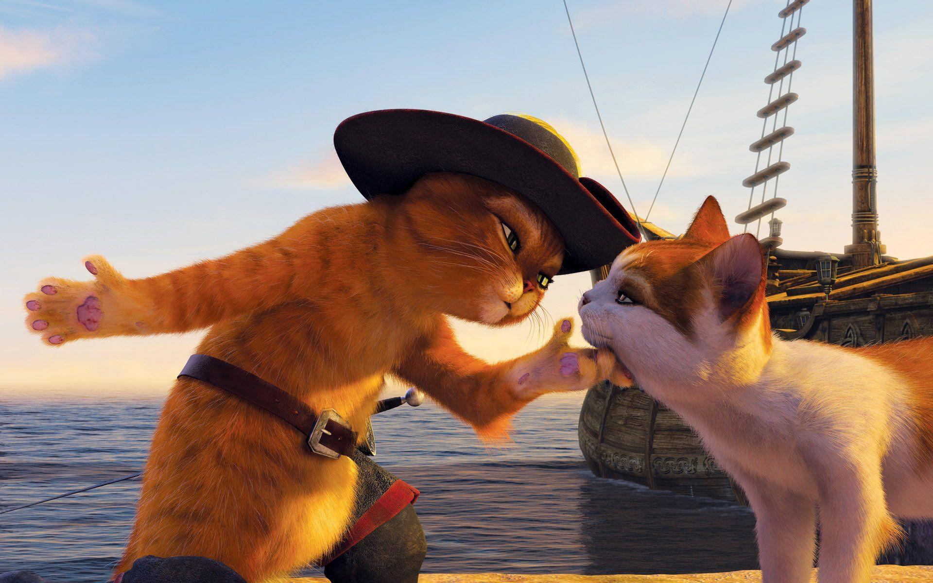 Шрэк с котом в городе без смс