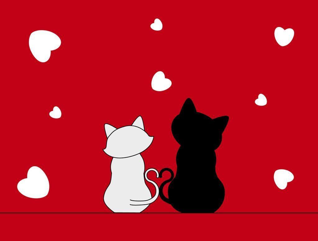 Влюбленные кошки картинки рисованные, любовь лучшие