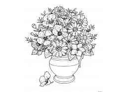 Картинки раскраски цветы в вазе 1