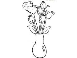 Картинки раскраски цветы в вазе 3